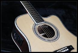 guitare électrique oem st Promotion JEAN6086 Guitare acoustique électrique de haute qualité complète Cutway D45O Ablone Incrustation ébène Touche Os NutBridgeSaddle