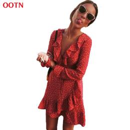 05e6ee7d1cc OOTN à volants Wrap Sun Dress Rouge Femmes Manches Longues Mini Étoiles  Courtes Robes Vintage Tunique Femme 2018 D été Sexy Noir Bleu Y190117