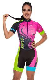 Camiseta de ciclismo rosa equipo femenino online-2019 Pro Team Triatlón Traje de ciclismo de la mujer traje de mono de la princesa Maillot Ciclismo Ropa ciclismo set pink gel pad 007