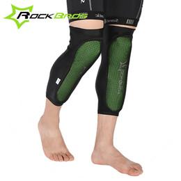 rodilleras mtb Rebajas RockBros Green Knee Protector Bicicleta Almohadillas para ciclismo Deporte al aire libre Ciclismo MTB Mountain Bike Anticollision Calf Pads 2015