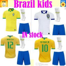 Calcio nazionale di calcio brasiliano online-2020 Brazil kids maglia casa lontano Marcelo PELE OSCAR D.COSTA DAVID LUIZ top quality 19 20 calcio maglia maglia nazionale