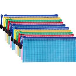 pastas de fotos em papel Desconto 10 Peças Zipper Arquivo Malote Grid Documento Saco De Armazenamento Multiuso Sacos Para Escritórios Suprimentos Acessórios de Viagem, 5 Cores