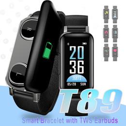 TWS Kulakiçi Akıllı Bilezik Bluetooth 5.0 Akıllı Bileklik T89 Spor Izci Kalp Hızı Saatler IOS Android Akıllı Telefonlar için Perakende Kutusu ile nereden
