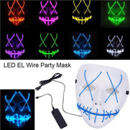 Bateria brilho escuro on-line-Máscara de Halloween LEVOU Maske Light Up Partido Máscaras EL Neon Maska Cosplay Rímel Mascarillas Mascarillas Glow In Escuro DC 3 V bateria motorista