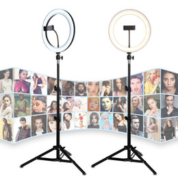 "android stativ Rabatt 26CM 10"" LED Selfie Ring Light For Live Stream Makeup Video Dimmable Beauty Ringlight with Tripod Stand & Phone Holder For iPhone Android"