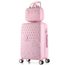 Bolsas de cosméticos para gatitos online-Marca 2 UNIDS / SET Encantador 20 24 pulgadas niña estudiantes carro 14 pulgadas bolsa de cosméticos hola gatito de viaje equipaje mujer maleta con ruedas