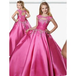 2019 детские платья 2019 Pageant платья для подростков Jewel шеи длина пола зашнуровать Тафта бальное платье Pageant платья для девочек размер 12