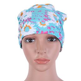 2019 schwimmen hüte für lange haare Frauen Badekappe Langes Haar Gedruckt Polyester Flexible Elastic Swim Hat rabatt schwimmen hüte für lange haare