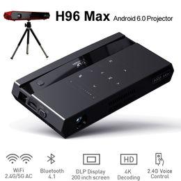 Titular de televisão on-line-Controle Remoto de voz Caixa de TV Android LED Mini Projetor Alto-falante Bluetooth Amlogic S912 Octa Núcleo Wifi 2 GB 16 GB H96 Caixas Max com suporte