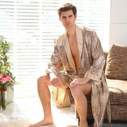 Argentina Nueva primavera verano lujo albornoz para hombre de impresión más el tamaño de seda satén pijamas Kimono verano hombre camisón chino de seda túnica cheap xl mens kimonos Suministro