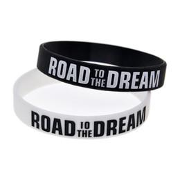 New Road to the Dream Motivacional pulseira de borracha de silicone elástico pulseiras Jóias Ink Logo Cheio Inspirado Pulseiras Bangle de Fornecedores de quartzo relógio lua