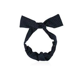Arcos de pelo para las mujeres al por mayor online-Venta al por mayor arco nudo diadema mujer moda DIY lunares Hairband azul oscuro anudado banda de pelo Headwraps accesorios para el cabello para niñas