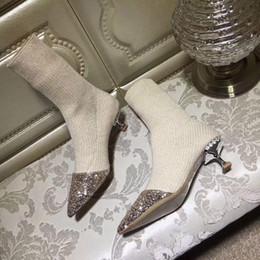 botas de punto gris para las mujeres Rebajas grises zapatos de tacón negro Venta beige de punto caliente botas del tobillo de las mujeres del rhinestone de botas corto tramo botas calcetín de cristal brillante