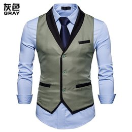 b318499dac2 New Mens Formal Business Suit Vest Gilet Homme Costume 2019 Fashion Covered  Edge Singel Breasted Men Slim Fit Vest Waistcoat