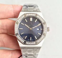 2019 anillos de lujo azul Reloj de lujo Ladys 33 MM Movimiento de cuarzo Anillo de diamantes Cara azul Acero inoxidable Zafiro 15400 relojes para mujer al por mayor rebajas anillos de lujo azul