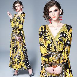 mulheres bonitas vestidos sensuais Desconto New Style Runway da Mulher elegante Barocco Vintage Imprimir Vestidos Maxi Vestido Bonito Office Lady sexy slim Sashes V-Neck partido