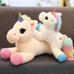 cavalos, brinquedos Desconto 7 PCS 40 cm Unicórnio de Alta Qualidade Bichos de pelúcia Brinquedo de Pelúcia Animal Unicórnio Cavalo Dos Desenhos Animados Presente Para Crianças AIJILE