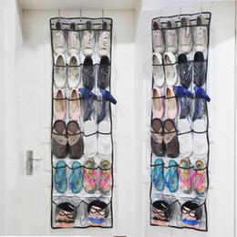 2019 organizador colgar el zapato 22 Bolsillos Bolsos plegables Organizador Bolsos Zapatos Bastidores de almacenamiento Detrás de la puerta Zapatos para colgar Bolsos de almacenamiento no tejidos Bolsa con ganchos DH0964 rebajas organizador colgar el zapato