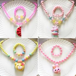 Coreano Jóias Acessórios Set Para Crianças Do Bebê Meninas Crianças Acrílico Beads Colar Pulseira Conjuntos Olá Kitty Design Presente de