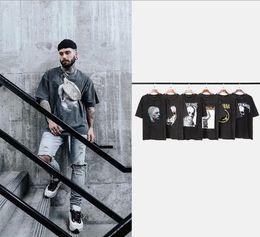 impressão de camisetas para bandas Desconto Mens verão camiseta High Street preto escuro Vintaged Wash solta Rock Band Imprimir verão de manga curta t-shirt forxxloffow