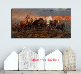 Cavalos pintura a óleo on-line-Cavalos ocidentais, Pintura em tela Sala de estar Decoração de casa Modern Mural Art Oil Painting