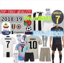 18 19 Juventus Soccer Jersey kit 2018 2019 juve 7 RONALDO 9 HIGUAIN 10 DYBALA 11 D. Costa 17 BUFFON MANDZUKIC terceira camisa de futebol uniformes supplier uniform soccer jerseys de Fornecedores de camisas uniformes de futebol