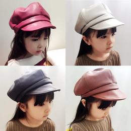 boné das crianças bonés Desconto Solid Color Octagonal Cap Moda Outono-Inverno coreano Crianças Pu Beret Kid chapéu ao ar livre Caps Rapazes Meninas Chapéus Casual