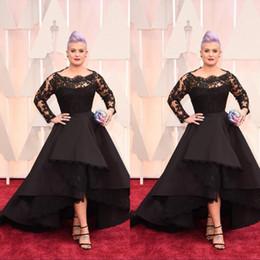 Deutschland Plus Size Long Sleeves Formal Prom Abendkleider Celebrity Black Lace High Low Roter Teppich Kleider Rüschen Party Kleider supplier black lace red carpet dresses sleeves Versorgung