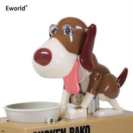 2019 banco de comer dinero Eworld Robotic Hungry Eating Dog Banco Canino Robó Automáticamente Moneda Piggy Bank Caja de Ahorro de Dinero Regalo Para Niños Q190606 banco de comer dinero baratos