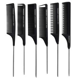 2019 peine la cuchilla peina el cabello Peine de cola de rata antiestático profesional Peine de cabello metálico Peluquería uso herramienta de belleza de cabello Toni Guy