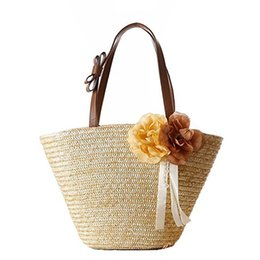 Соломенные луки онлайн-Women Flower Bow Ribbon Handle Woven Beach Straw Shoulder Handbags(primary color)