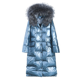 Shiny Jacket hiver de femmes épaisse couche mince col de fourrure manteau à capuchon de femmes blanches de canard fille 2019 New BLUE BLACK ? partir de fabricateur