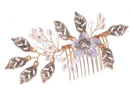 Canada Nouvelle feuille peigne en alliage peu d'eau ornement disque ornement de cheveux ornement de mariée cheap water ornaments Offre