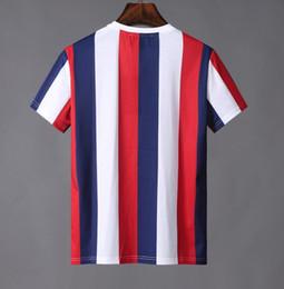 Dessus rayé blanc rouge en Ligne-2019 Designer Marque Hommes T-shirts luxe Ete Italie Italie Europe classique bleu rouge rayé lettre patchwork T shirt Tee Top Tshirt