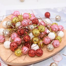 berry beads diy Promo Codes - 50pcs lot Glitter Fruit Stamens Cherry Artificial Flower Small Berries Beads for Wedding DIY Flower Wreath Gift Box Decoration