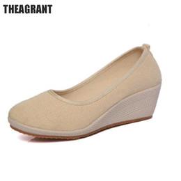 Diseñador Zapatos de vestir Theagrant Primavera Verano Mujeres Cuña Sólido Estilo Nacional Mujeres Bombas Tacones altos Casual Resbalón en la enfermera Whh3000 desde fabricantes