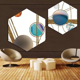 kreis gemälde leinwand Rabatt Leinwand Bilder Home Decor Gemälde Nordic Hexagon Kunst Kreis Golden Line Wand Kunstdrucke Poster Hotel Modular Wohnzimmer