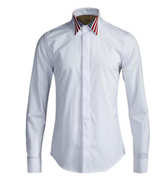 Camisa branca preta da bandeira americana on-line-Shirt Luxury American Flag Bordados Men manga comprida Plus Size Moda Slim Fit Cusual preto homem branco Shirts
