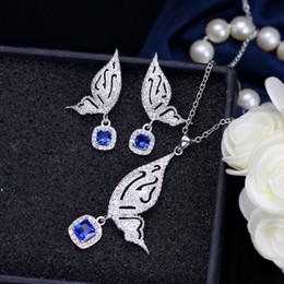 collar esmeralda de la boda fija Rebajas Levendige Vlinder 925 Zilveren Kubieke Zirkoon Micro Pave Geel Crystal Drop Oorbellen Ketting Mode Sets Sieraden
