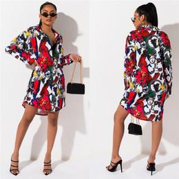 mulheres maduras vestido longo Desconto 2019 Designer de Mulher Vestidos de Verão Casuais Maduro Elegante Cor Imprimir Manga Comprida Gola Camisa Vestidos de Roupas de Moda Das Mulheres