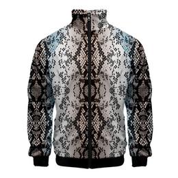 2019 cappotto di kawaii Snake Print Cappotti e giacche Harajuku Bomber Jacket Donna / Uomo 3d Kawaii Leopard Print Giacca a vento Zip Up Athleisure Tops cappotto di kawaii economici