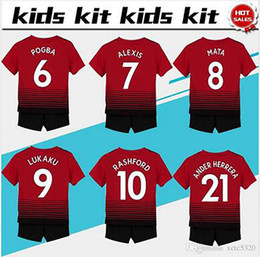 d8fa8a343  7 ALEXIS soccer Jersey Kids Kit 2018 19  6 POGBA home red Soccer Jerseys  Youth Sets  10 RASHFORD Child Soccer Shirts uniform jersey+shorts cheap  youth ...