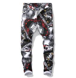 pantalón estampado digital Rebajas Nueva impresión Casual pantalones vaqueros de la motocicleta para hombre pantalones masculinos Slim digital Impreso pantalones de moda Nightclub pantalones streetwear
