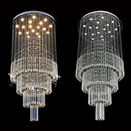 длинная подвесная хрустальная люстра Скидка Современные светодиодные хрустальные люстры светильники подвесные Cristal Long Loft Стеклянные шарики Подвесной светильник для гостиной лестница
