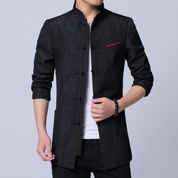 cotton tang jacket Promo Codes - 2019 Spring New Chinese Style Fashion Classic Tang Suit Jacket Men Cotton Flax Comfortable Fabric Mens Jackets and Coats