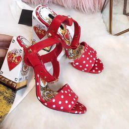 quadratische toe sandalen Rabatt Rot Grün Schwarz Welle Punkt Quadrat Ferse Sandalen Feminino Peep Toe Strap Knöchel Gladiatoren Damenschuhe