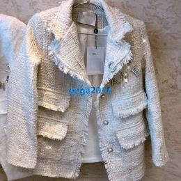 Broche de perlas individuales online-altas mujeres end girls tweed chaqueta de bombardero de cristal carta chaqueta broche de perlas individuales de manga larga tops diseño de moda abrigo de vestir exteriores de pechos