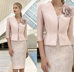 c81ea80bb7 autumn wedding outfits Promo Codes - Elegant Pink Mother Of The Bride  Dresses With Jacket Lace