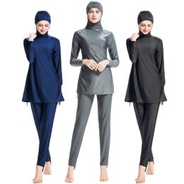 Mangas de maiô mais tamanho on-line-L098 Muçulmano Swimsuit Plus Size Islâmico Swimwear Mulheres Terno de Natação Para As Mulheres de Manga Longa Burkini Muslima Coberto Roupas Hijab 6XL