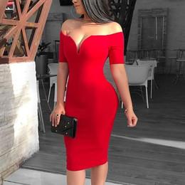 vestido de festa sexy vermelho midi Desconto 2019 mulheres verão elegante sexy red cocktail midi party dress sólidos fora do ombro de manga curta slim fit bodycon dress y19053001